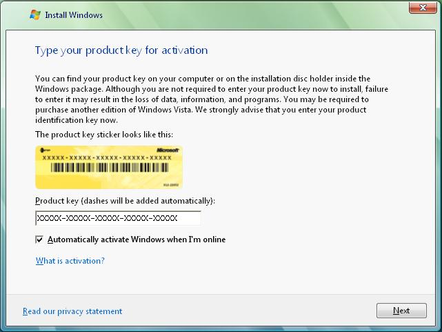 window vista business product key for activation