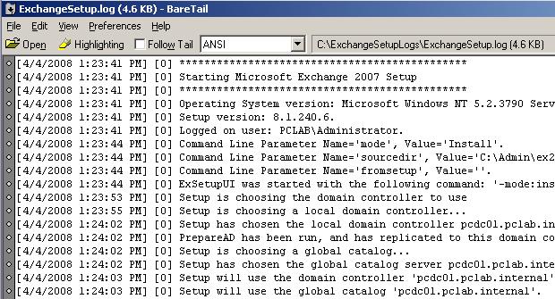 Using Baretail to monitor Exchange Server 2007 setup