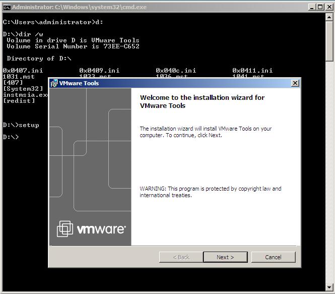 Installing VMWare Tools on Windows Server 2008 Core