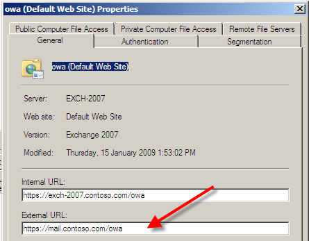 Configuring the Exchange Server 2007 Client Access Server