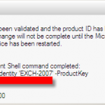 Configuring the Exchange Server 2007 Product Key