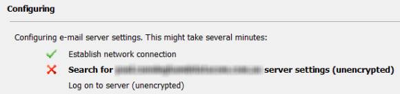 An Encrypted Connection to Your Mail Server is Not Available