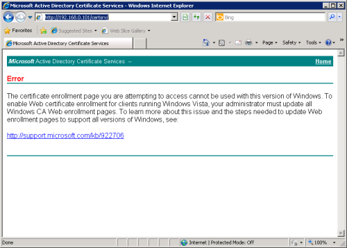 Update Required for Windows 2003 Certificate Services Web