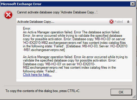 Cannot Activate Database Copy: Content Index Files in Failed