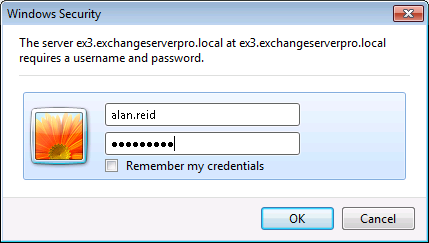 Exchange Server 2010 Outlook Web App Authentication Settings
