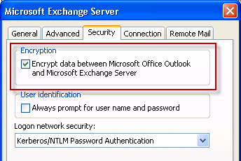 Outlook 2003 and Exchange Server 2010 RPC Encryption