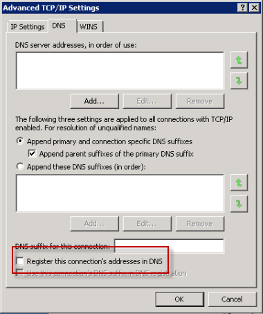 Disable DNS registration for the secondary interface