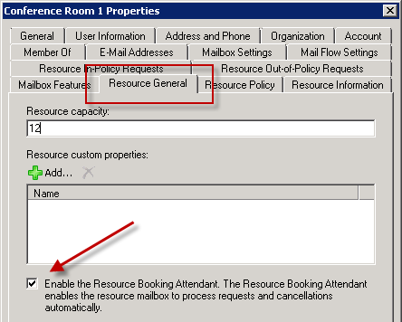 Enable Room Booking Attendant on Exchange Server 2010 Room Mailboxes