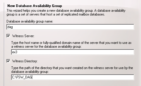 New Database Availability Group Wizard - Basic Info