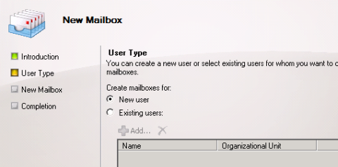 Choose to Create a New User for the Room Mailbox