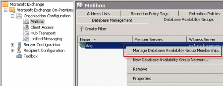 Manage Database Availability Group Members