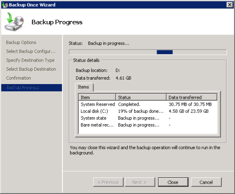 Exchange 2010 Client Access server full system backup