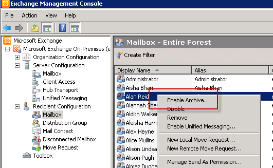 How to Create an Archive Mailbox in Exchange Server 2010