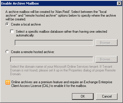 Choose a Location for the Exchange Server 2010 Archive Mailbox