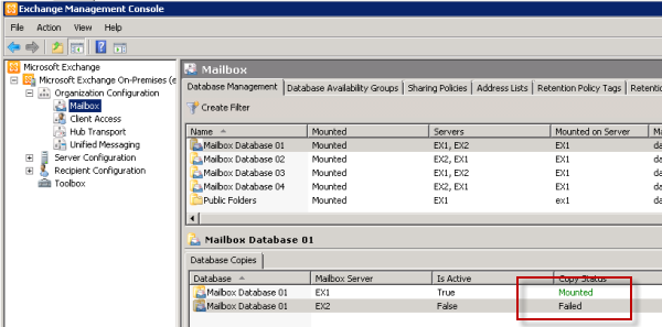 reseed failed mailbox database copy in exchange server