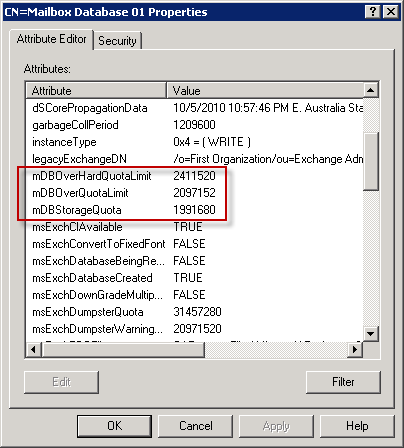 Exchange 2010 Mailbox Database storage quota settings in Active Directory