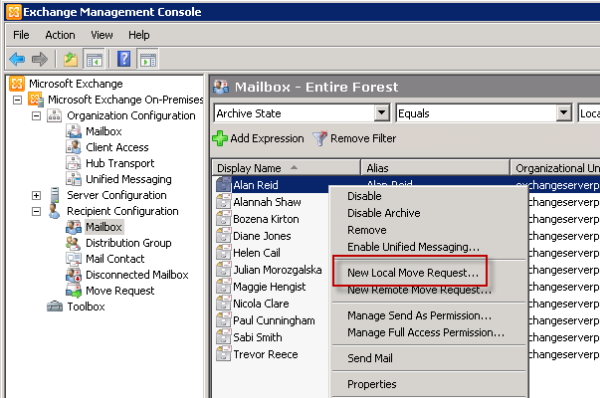 Start the Exchange Server 2010 New Local Move Request wizard