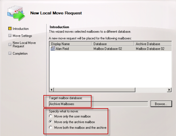 Choose the destination for moving the archive mailbox in Exchange Server 2010