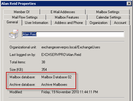 Exchange Server 2010 Archive Mailbox Database attribute