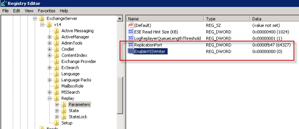 Disable the VSS Writer for Exchange 2010 mailbox database backups