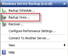 Start a Windows Server Backup of Exchange 2010