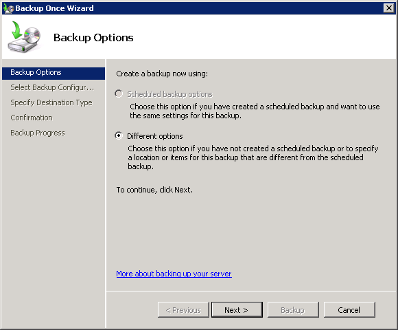 Choose whether to use existing backup options on the server