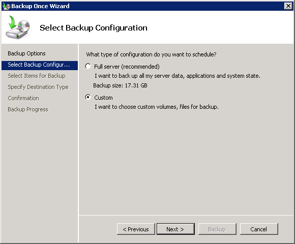 Choose a Custom backup in Windows Server Backup