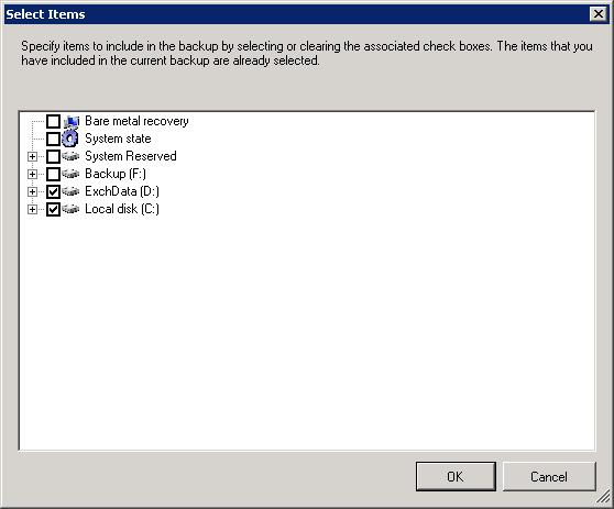 Select the volumes containing Exchange application files