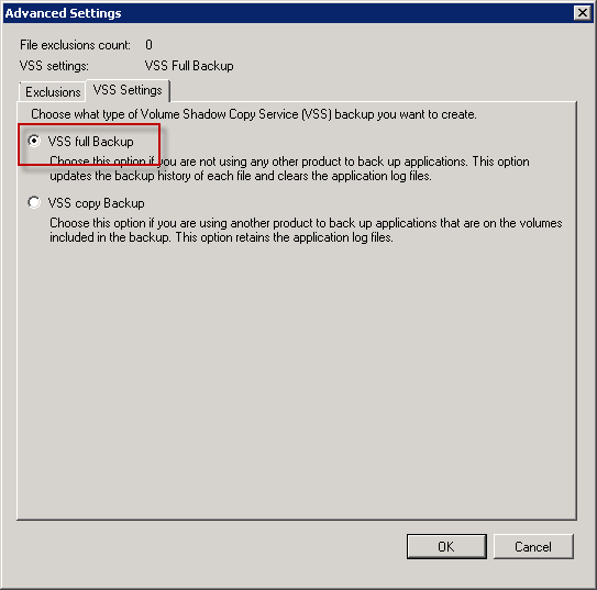 Choose VSS Full Backup for Exchange 2010 mailbox database backups
