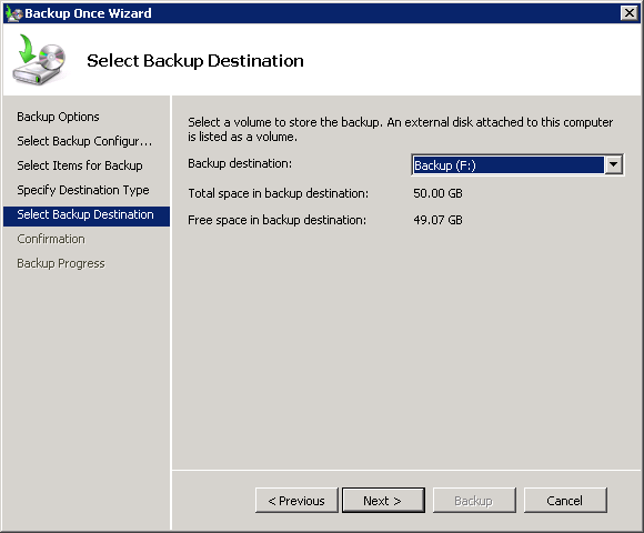 Choose the volume to back up Exchange 2010 to
