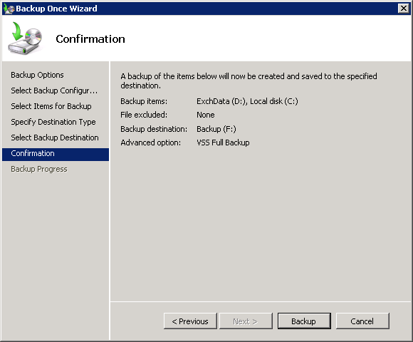 Start the Exchange 2010 mailbox database backup