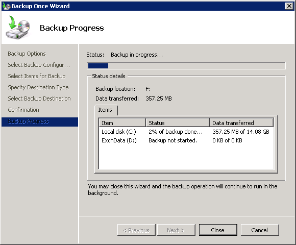 Running an Exchange Server 2010 Mailbox Database Backup