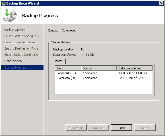Exchange 2010 Mailbox Database backup is complete