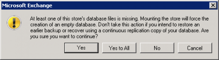 Unable to mount Exchange 2010 Mailbox Database due to missing file