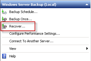 Start the Windows Server Backup Recovery Wizard