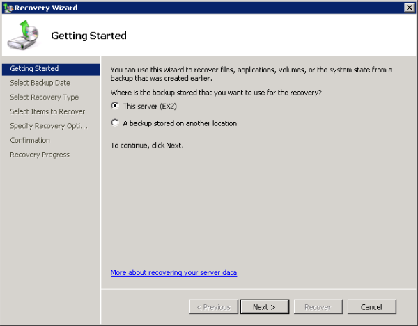 Choose the backup location to restore the Exchange 2010 Mailbox Database from