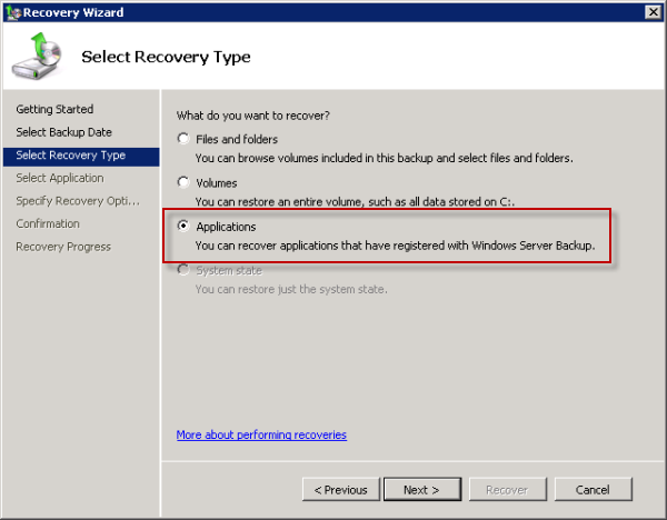 Choose the Application recovery type for Exchange 2010 Mailbox Database recovery