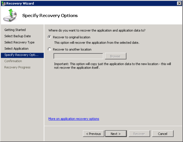 Choose to recover the Exchange 2010 Mailbox Database to its original location or an alternate location
