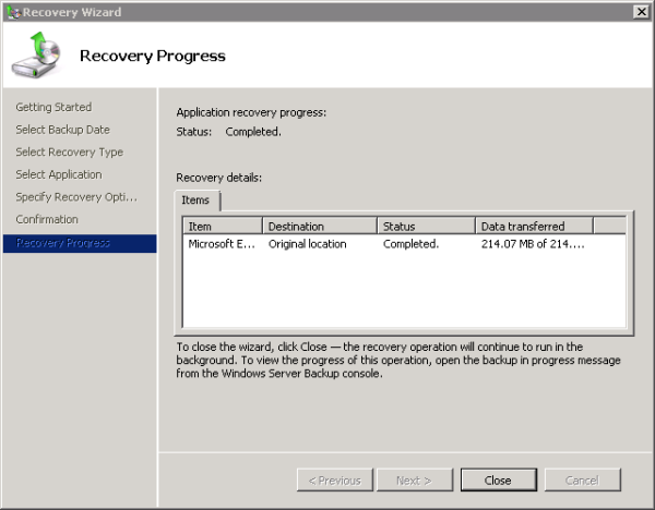 Exchange 2010 Mailbox Database restore complete