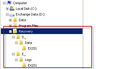 Recovered data in Windows Explorer