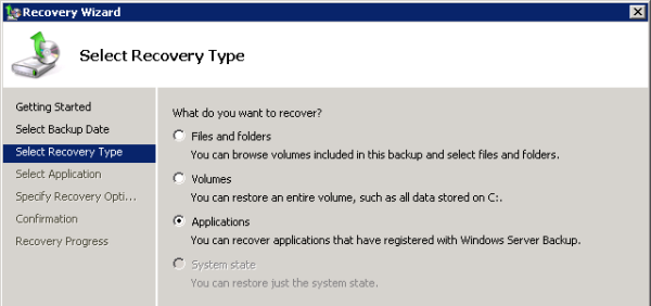 Choose the Recovery Type of Applications