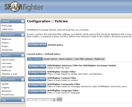SPAMfighter Policy Configuration page