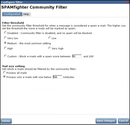 SPAMfighter Community Filter settings