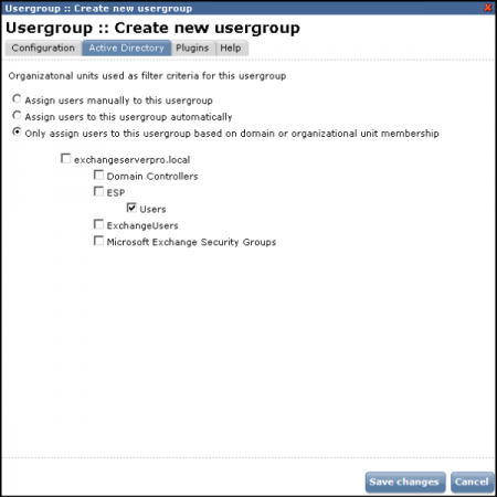 Usergroups allow different SPAMfighter policies to be applied