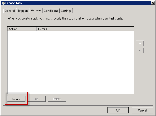 Create a new Action for the scheduled task