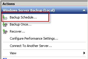 Creating a scheduled backup in Windows Server Backup