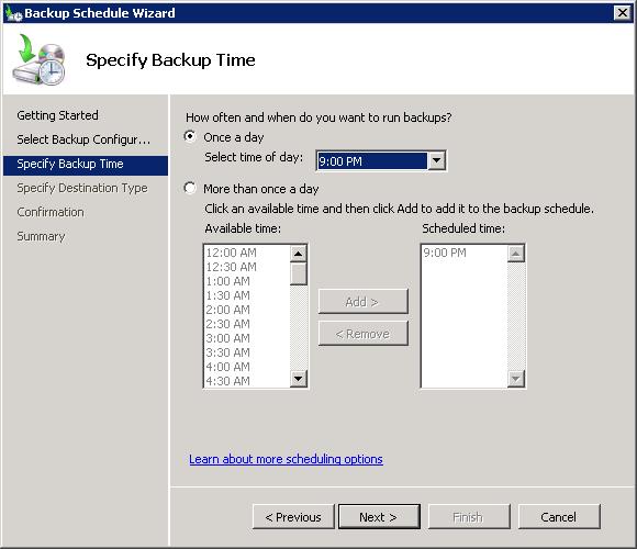 Windows Server Backup scheduling options