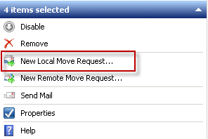 Start a new Local Move Request