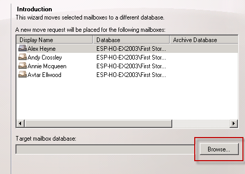 Browse to select a target mailbox database