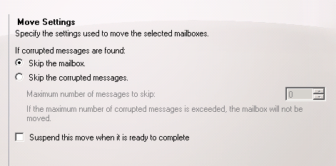Configure the settings for the mailbox move requests